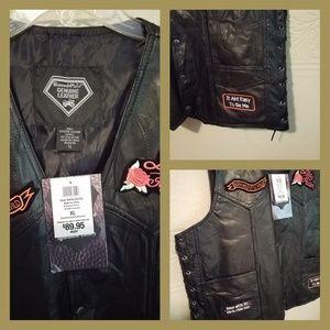 Diamond Plate Motorcycle Gear Womens Leather Vest